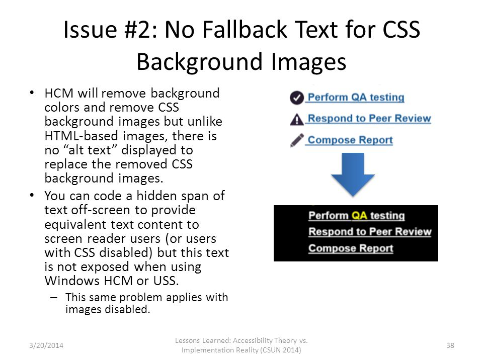 Issue #2: No Fallback Text for CSS Background Images HCM will remove background colors and remove CSS background images but unlike HTML-based images,