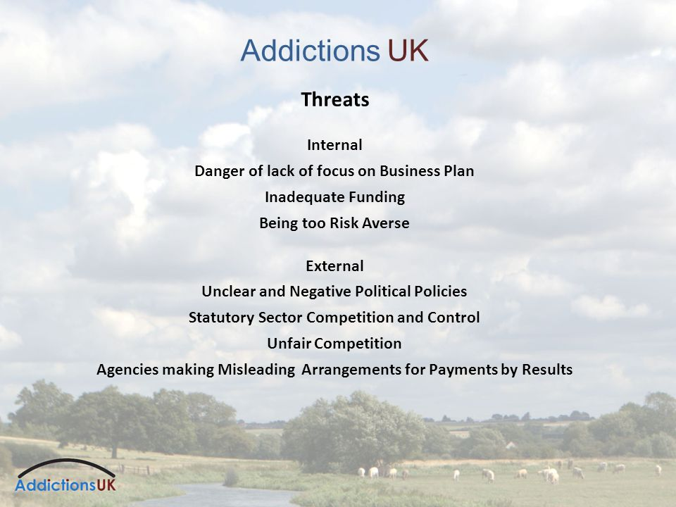 Addictions UK Threats Internal Danger of lack of focus on Business Plan Inadequate Funding Being too Risk Averse External Unclear and Negative Political Policies Statutory Sector Competition and Control Unfair Competition Agencies making Misleading Arrangements for Payments by Results