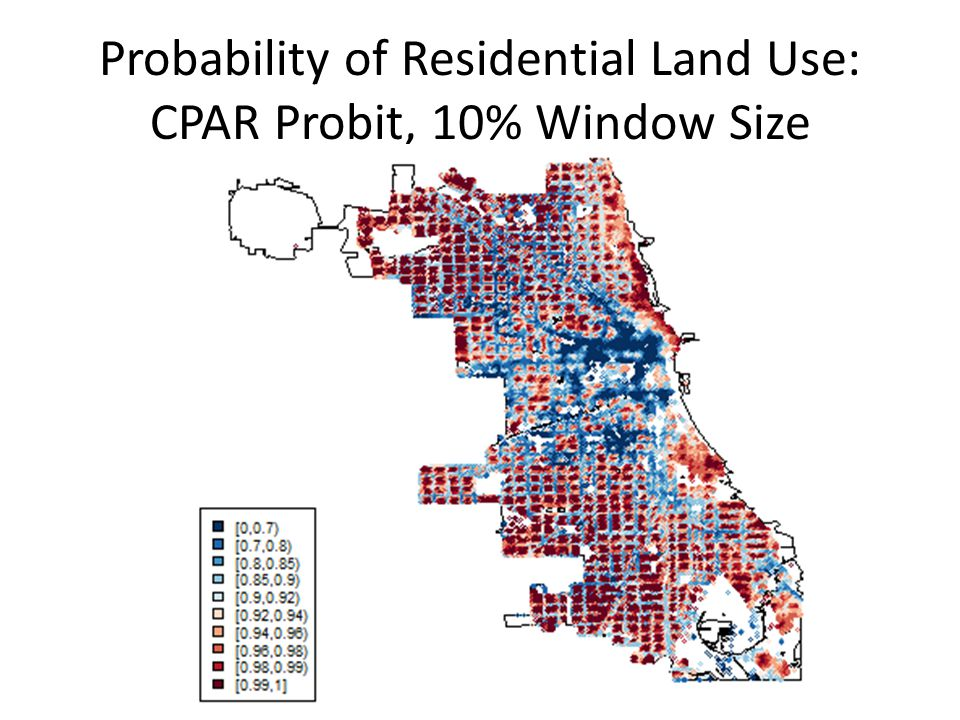 Probability of Residential Land Use: CPAR Probit, 10% Window Size