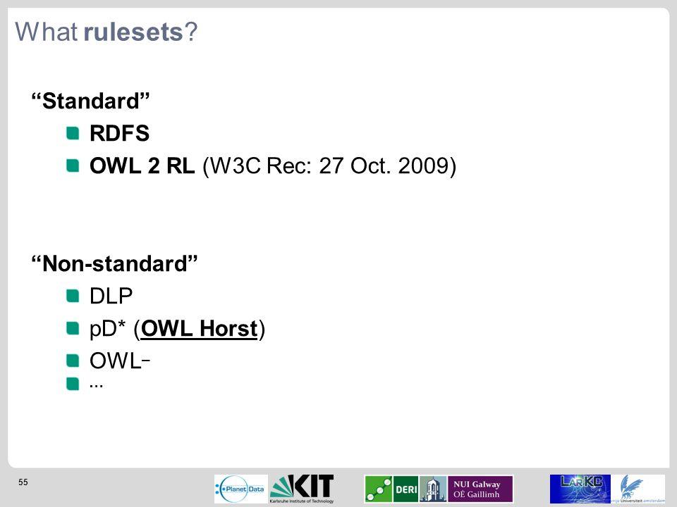 "55 ""Standard"" RDFS OWL 2 RL (W3C Rec: 27 Oct. 2009) ""Non-standard"" DLP pD* (OWL Horst) OWL – … What rulesets?"