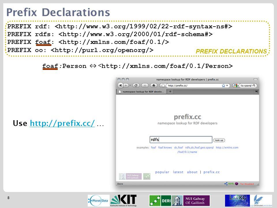 8 PREFIX rdf: PREFIX rdfs: PREFIX foaf: PREFIX oo: Prefix Declarations foaf:Person ⇔ Use http://prefix.cc/ …http://prefix.cc/ PREFIX DECLARATIONS