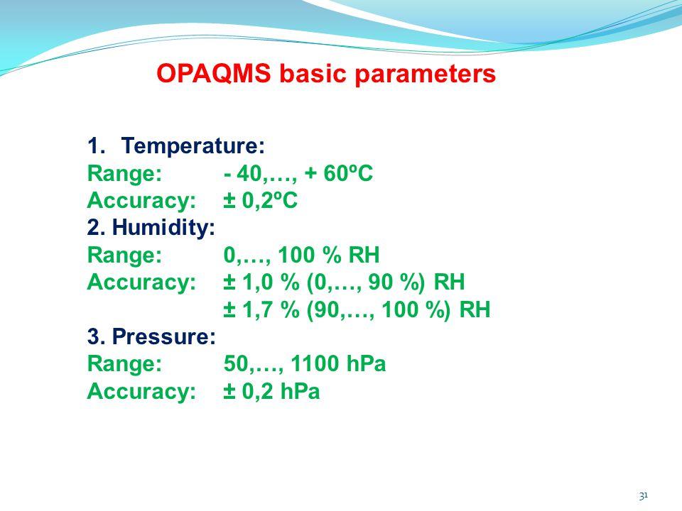 31 1.Temperature: Range:- 40,…, + 60ºC Accuracy:± 0,2ºC 2. Humidity: Range:0,…, 100 % RH Accuracy:± 1,0 % (0,…, 90 %) RH ± 1,7 % (90,…, 100 %) RH 3. P