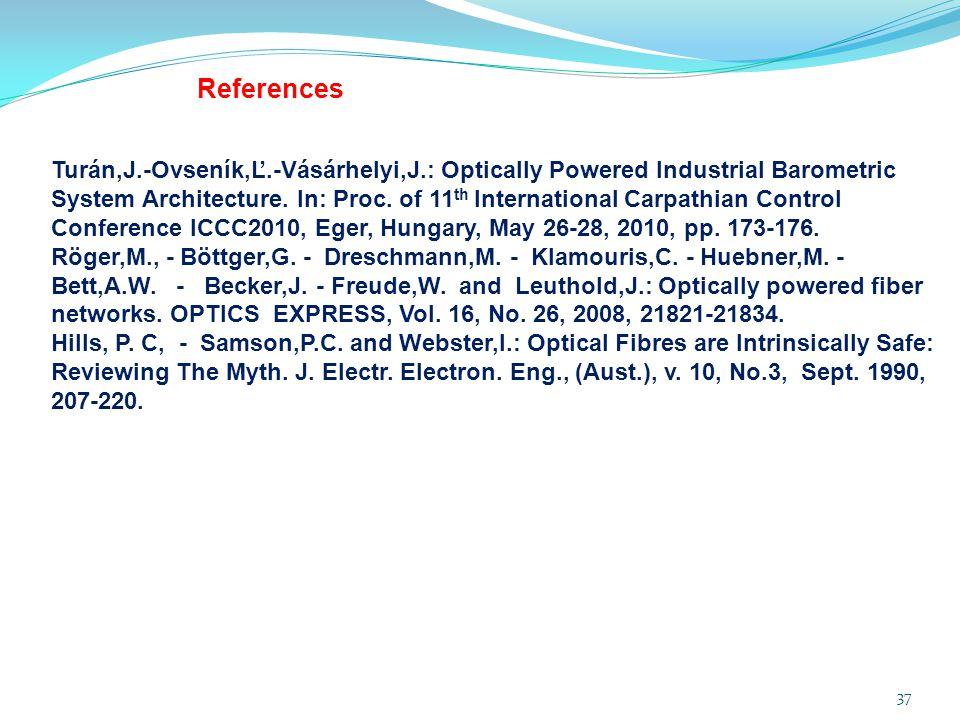 37 References Turán,J.-Ovseník,Ľ.-Vásárhelyi,J.: Optically Powered Industrial Barometric System Architecture. In: Proc. of 11 th International Carpath
