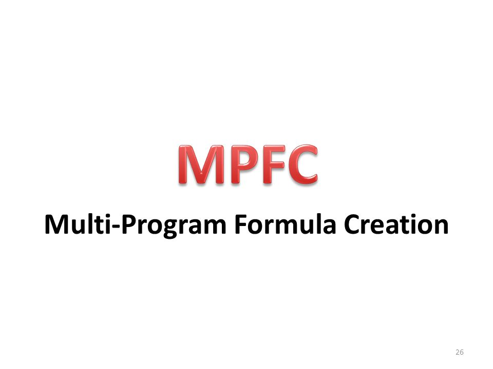 Multi-Program Formula Creation 26
