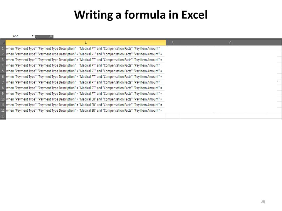 39 Writing a formula in Excel