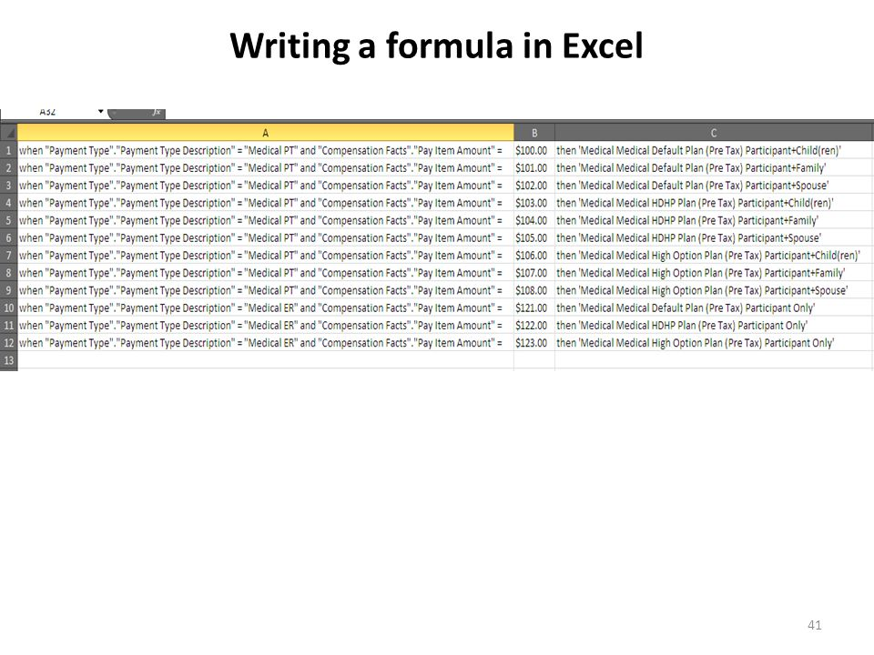 41 Writing a formula in Excel