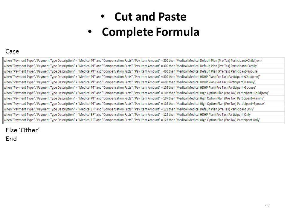 47 Cut and Paste Complete Formula Case Else 'Other' End