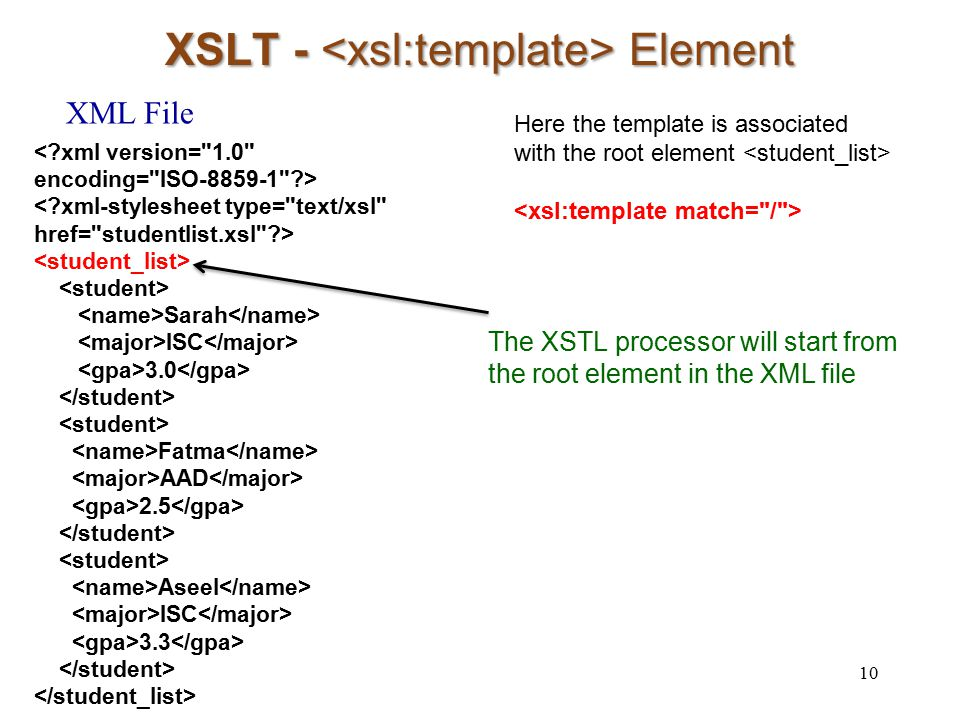 XSLT - Element 10 Sarah ISC 3.0 Fatma AAD 2.5 Aseel ISC 3.3 XML File Here the template is associated with the root element The XSTL processor will sta