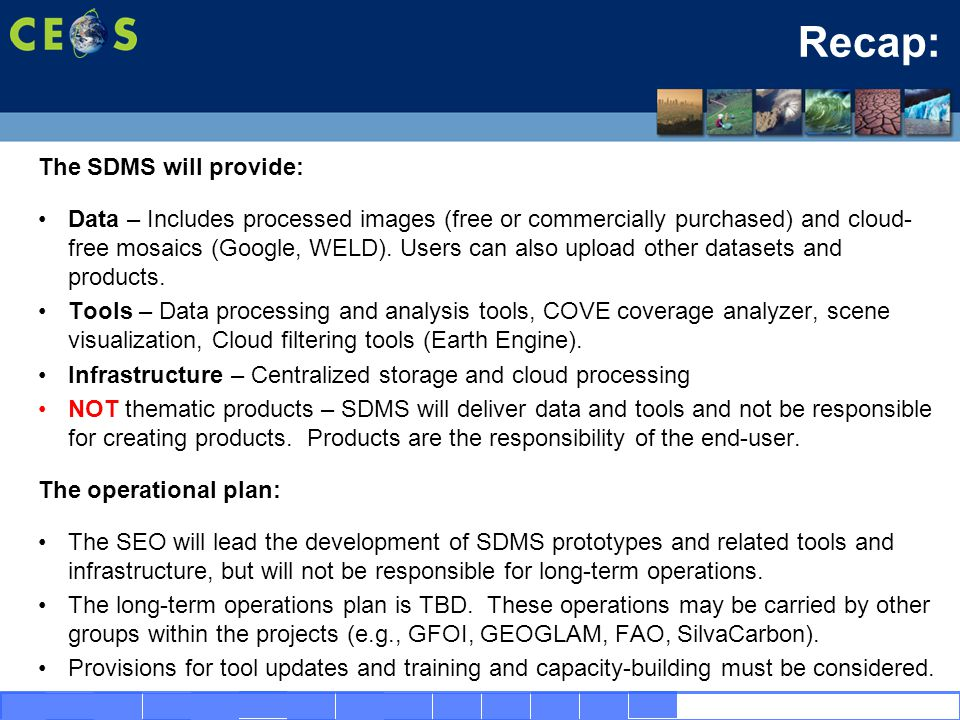 16 The SDMS will provide: Data – Includes processed images (free or commercially purchased) and cloud- free mosaics (Google, WELD).