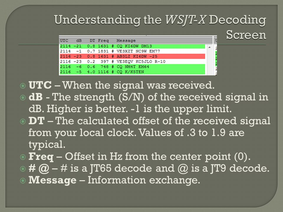 UTC – When the signal was received.  dB - The strength (S/N) of the received signal in dB. Higher is better. -1 is the upper limit.  DT – The calc