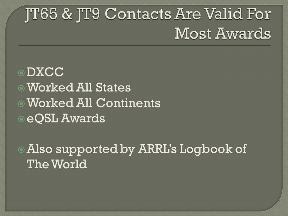  DXCC  Worked All States  Worked All Continents  eQSL Awards  Also supported by ARRL's Logbook of The World