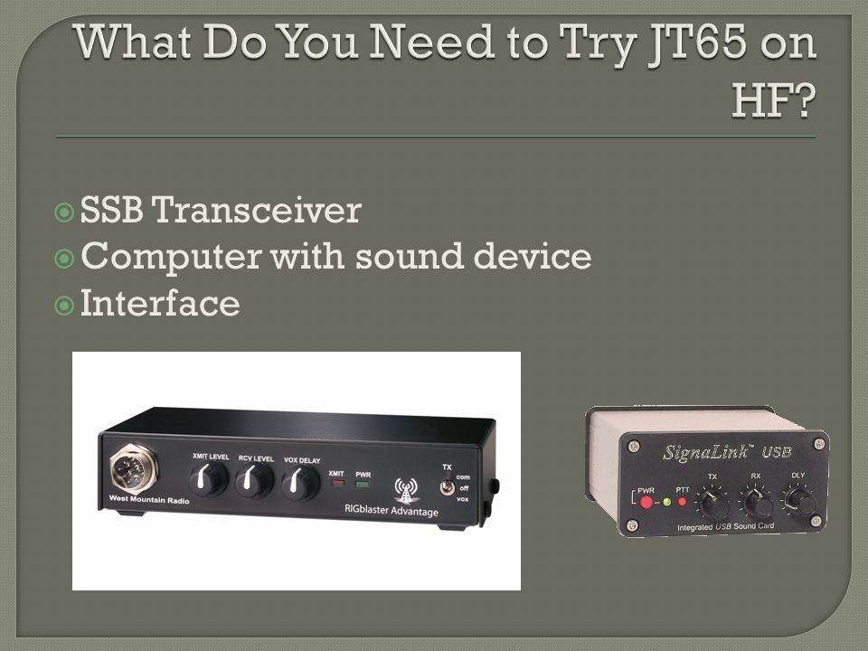  SSB Transceiver  Computer with sound device  Interface