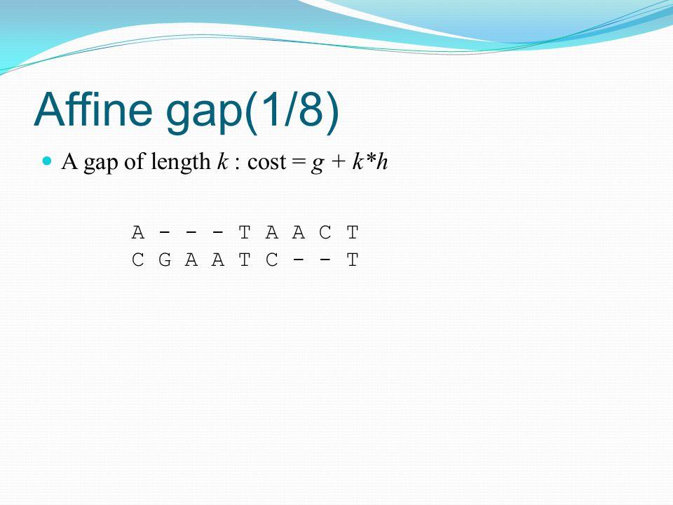 Affine gap(1/8) A gap of length k : cost = g + k*h A - - - T A A C T C G A A T C - - T