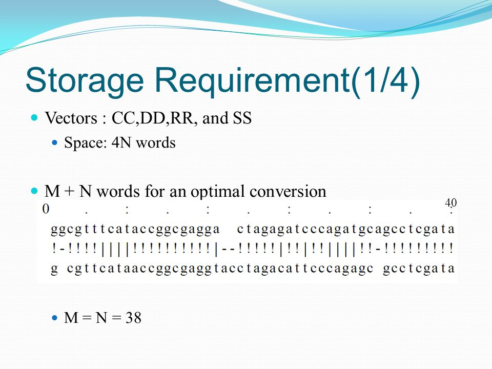 Storage Requirement(1/4) Vectors : CC,DD,RR, and SS Space: 4N words M + N words for an optimal conversion M = N = 38 40