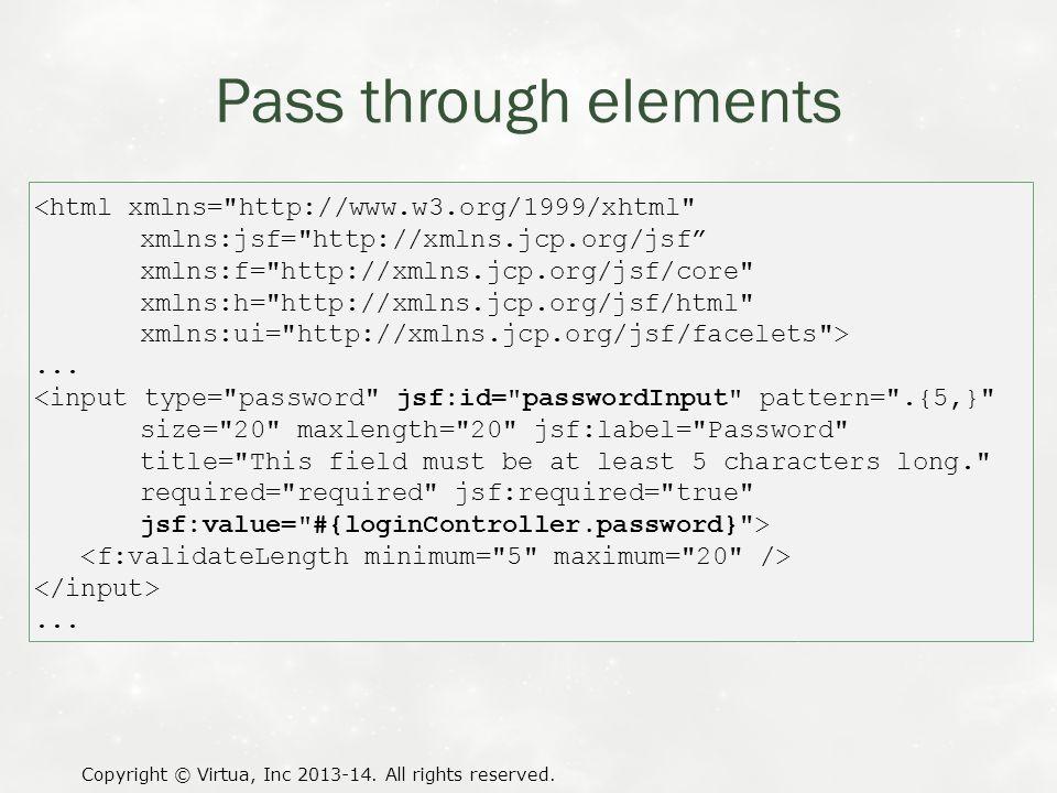 Pass through elements Copyright © Virtua, Inc 2013-14.