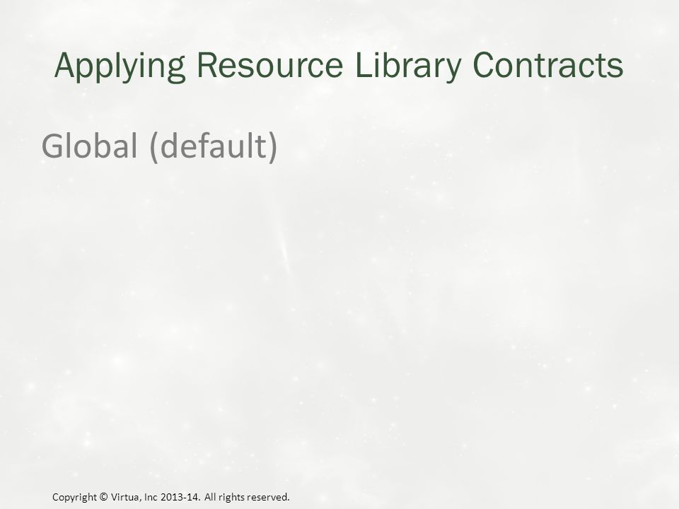 Applying Resource Library Contracts Global (default) Copyright © Virtua, Inc 2013-14.