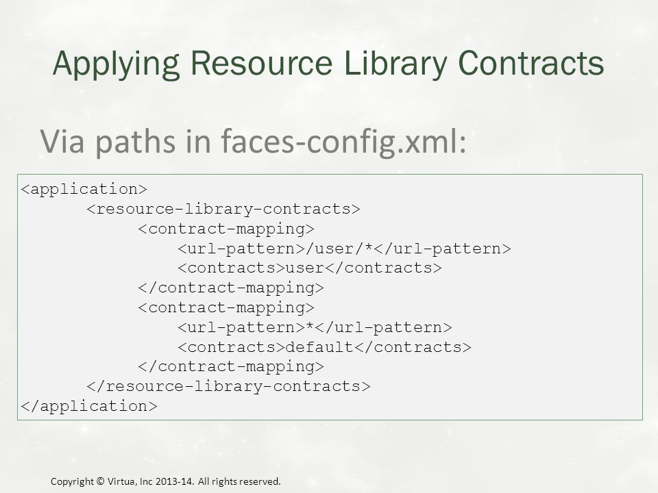 Applying Resource Library Contracts Via paths in faces-config.xml: Copyright © Virtua, Inc 2013-14.