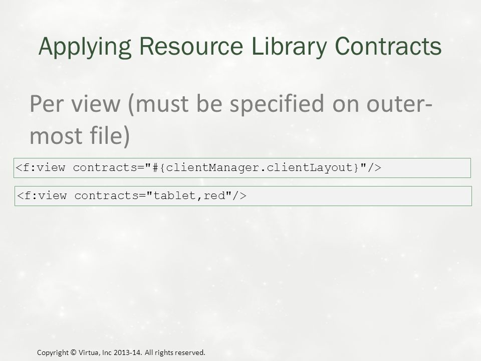 Applying Resource Library Contracts Per view (must be specified on outer- most file) Copyright © Virtua, Inc 2013-14.