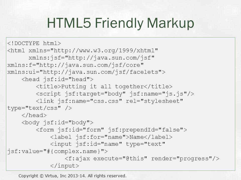 HTML5 Friendly Markup Copyright © Virtua, Inc 2013-14. All rights reserved. <html xmlns=