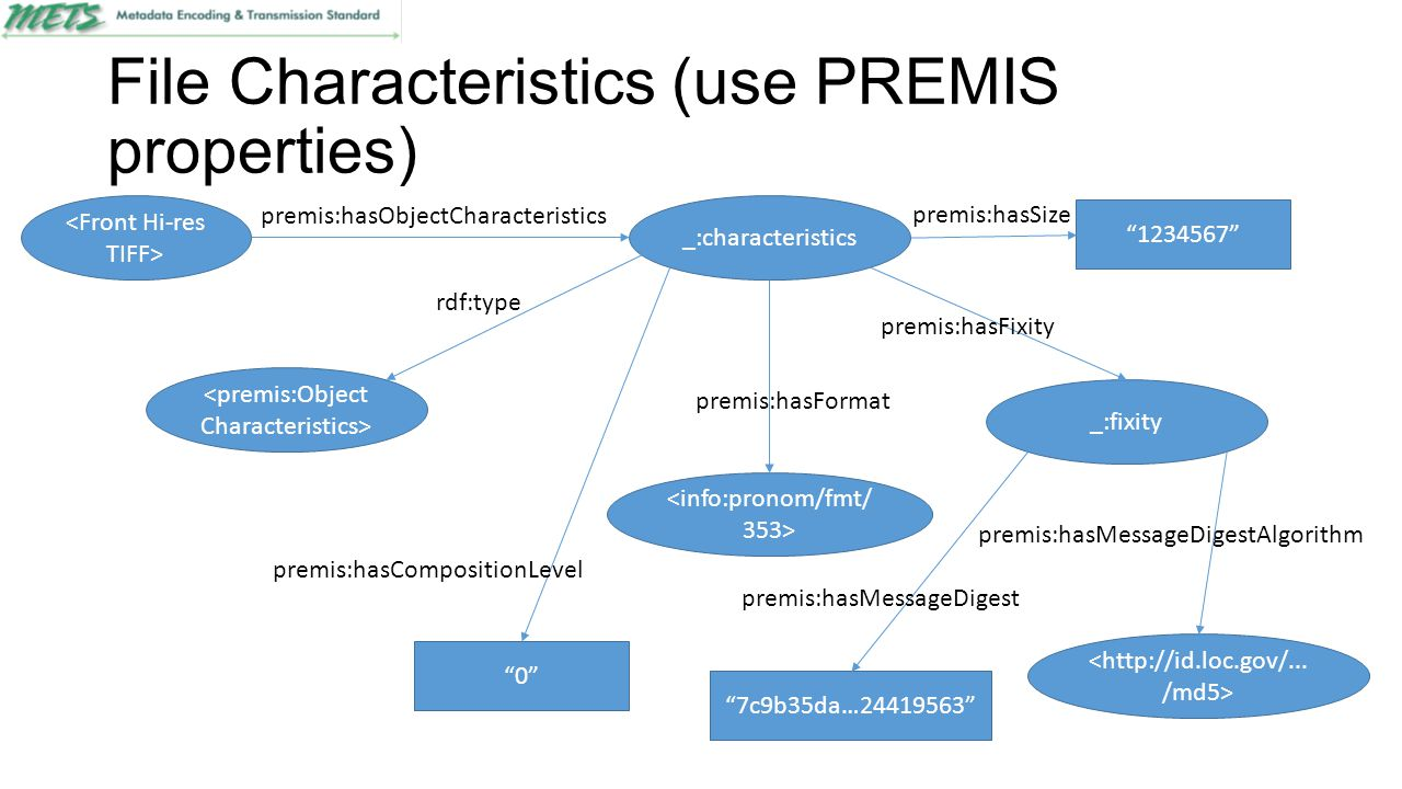 "File Characteristics (use PREMIS properties) _:characteristics premis:hasObjectCharacteristics ""0"" premis:hasCompositionLevel premis:hasFormat ""123456"