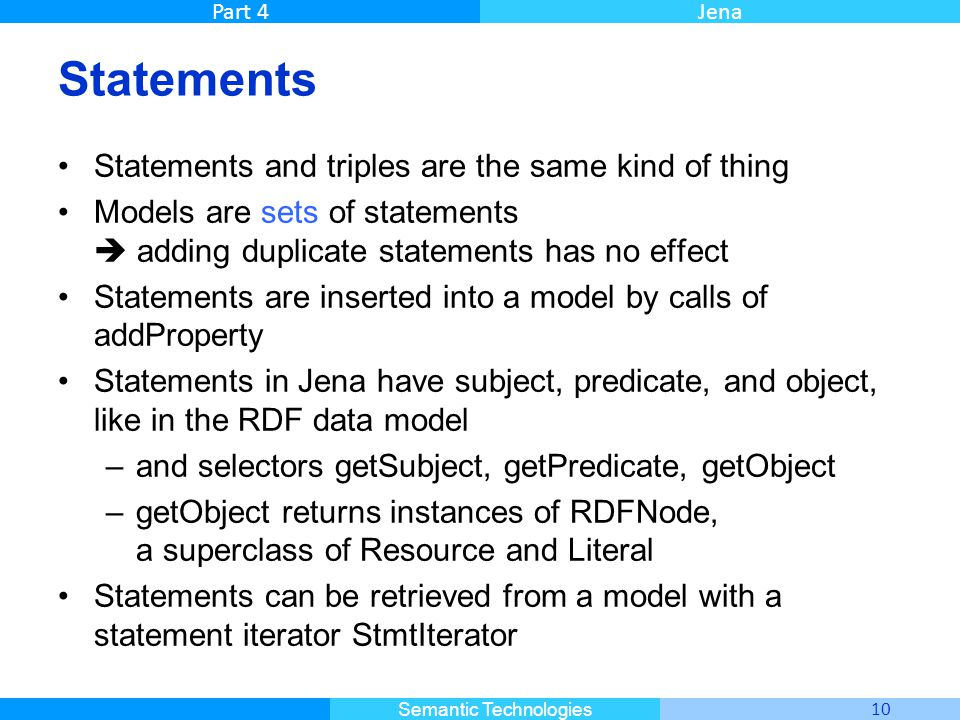Master Informatique 10 Semantic Technologies Part 4Jena Statements Statements and triples are the same kind of thing Models are sets of statements  a