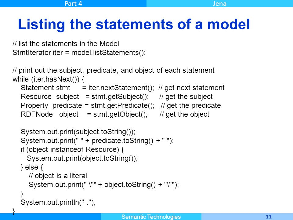 Master Informatique 11 Semantic Technologies Part 4Jena Listing the statements of a model // list the statements in the Model StmtIterator iter = mode