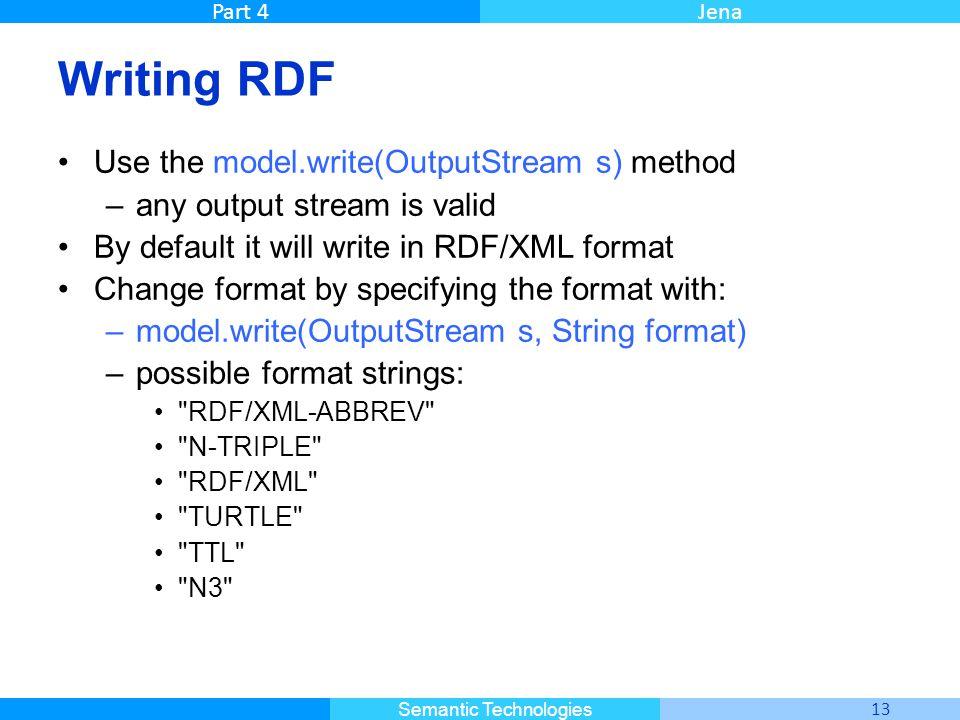 Master Informatique 13 Semantic Technologies Part 4Jena Writing RDF Use the model.write(OutputStream s) method –any output stream is valid By default it will write in RDF/XML format Change format by specifying the format with: –model.write(OutputStream s, String format) –possible format strings: RDF/XML-ABBREV N-TRIPLE RDF/XML TURTLE TTL N3