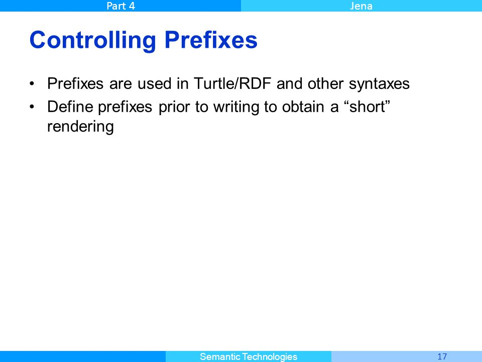Master Informatique 17 Semantic Technologies Part 4Jena Controlling Prefixes Prefixes are used in Turtle/RDF and other syntaxes Define prefixes prior to writing to obtain a short rendering
