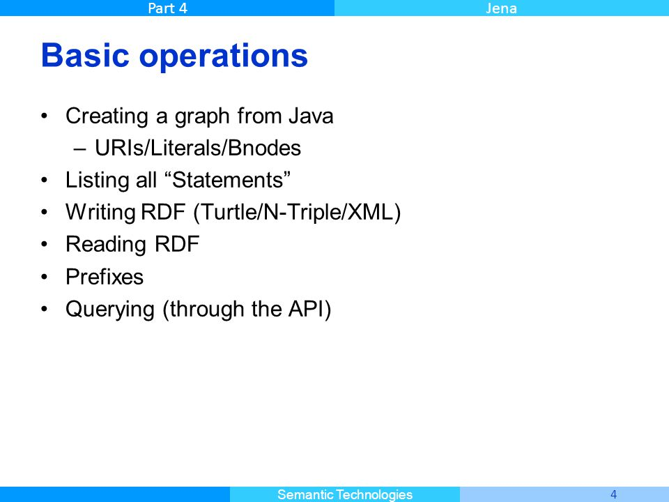 """Master Informatique 4 Semantic Technologies Part 4Jena Basic operations Creating a graph from Java –URIs/Literals/Bnodes Listing all """"Statements"""" Writ"""