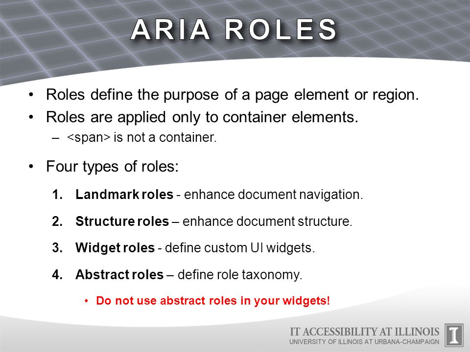 ARIA landmarks provide region-level structure –ARIA labels can further enhance landmarks by identifying multiple regions of the same type.