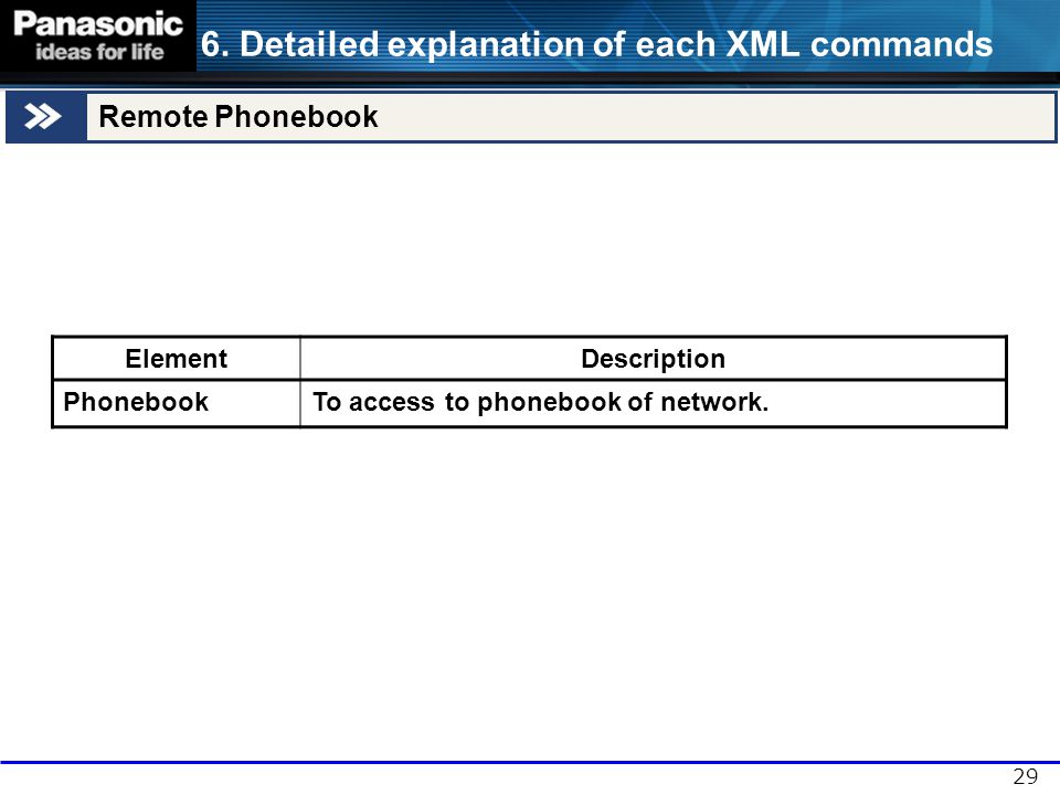 29 ElementDescription PhonebookTo access to phonebook of network. 6. Detailed explanation of each XML commands Remote Phonebook