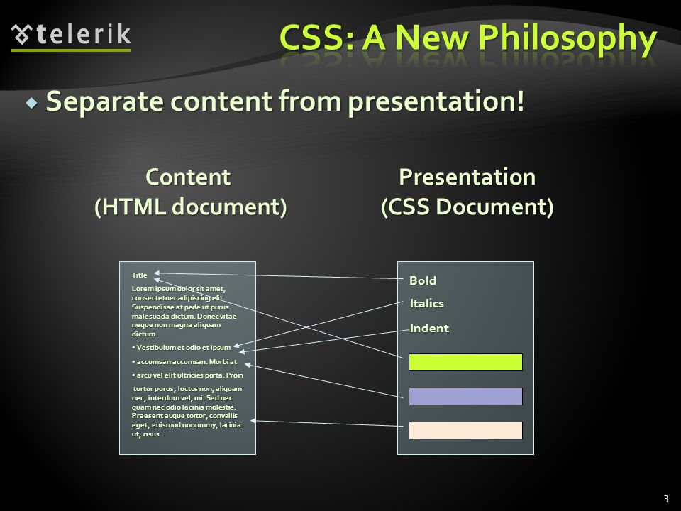  Separate content from presentation.