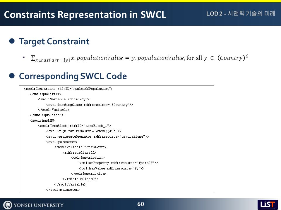 Constraints Representation in SWCL 60