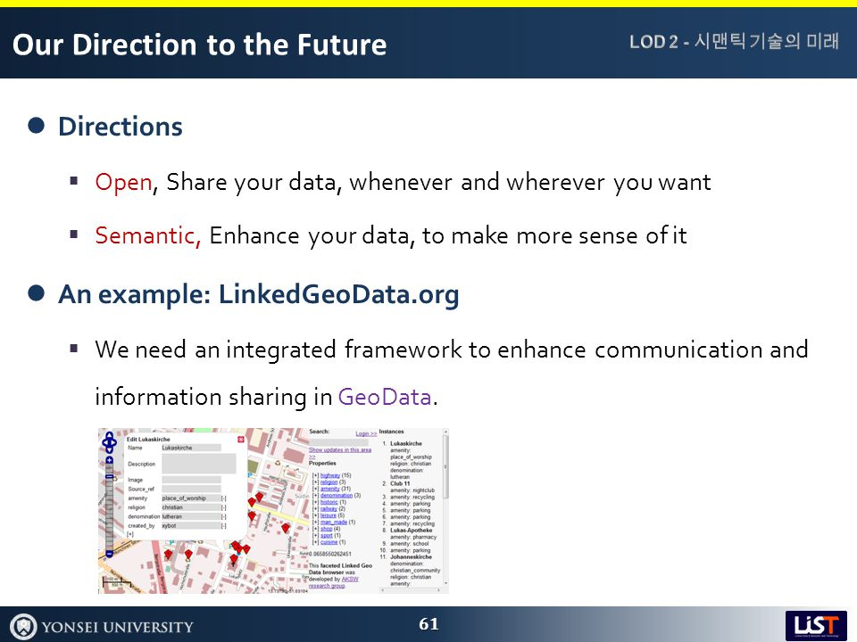 Our Direction to the Future Directions  Open, Share your data, whenever and wherever you want  Semantic, Enhance your data, to make more sense of it An example: LinkedGeoData.org  We need an integrated framework to enhance communication and information sharing in GeoData.
