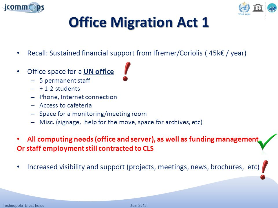 Technopole Brest-IroiseJuin 2013 Office Migration Act 1 Recall: Sustained financial support from Ifremer/Coriolis ( 45k€ / year) Office space for a UN