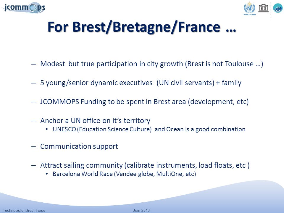 Technopole Brest-IroiseJuin 2013 For Brest/Bretagne/France … – Modest but true participation in city growth (Brest is not Toulouse …) – 5 young/senior