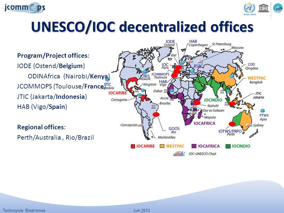 Technopole Brest-IroiseJuin 2013 UNESCO/IOC decentralized offices Program/Project offices: IODE (Ostend/Belgium) ODINAfrica (Nairobi/Kenya) JCOMMOPS (