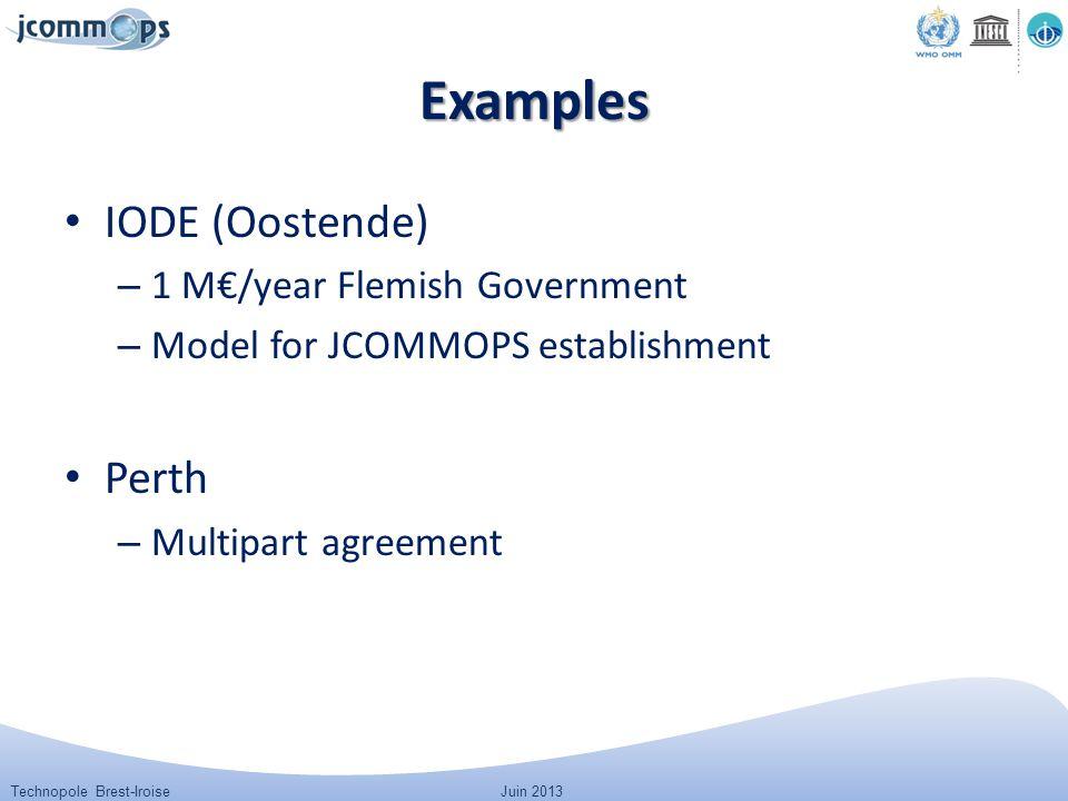 Technopole Brest-IroiseJuin 2013 Examples IODE (Oostende) – 1 M€/year Flemish Government – Model for JCOMMOPS establishment Perth – Multipart agreemen