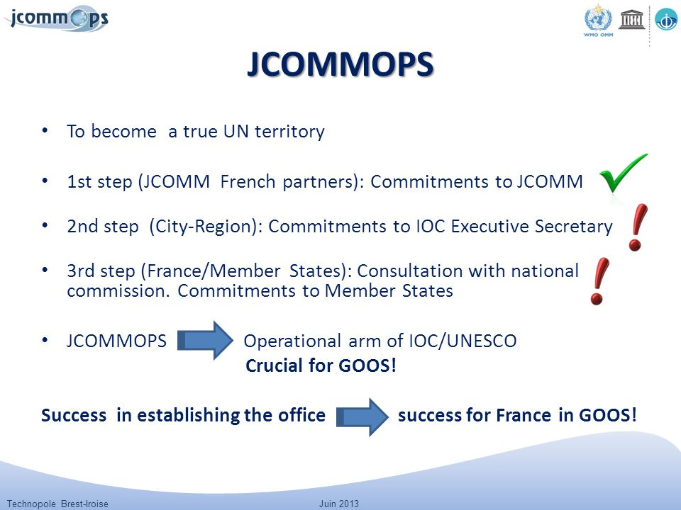 Technopole Brest-IroiseJuin 2013 JCOMMOPS To become a true UN territory 1st step (JCOMM French partners): Commitments to JCOMM 2nd step (City-Region):