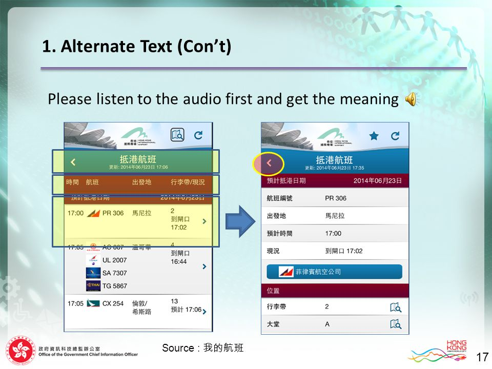 1. Alternate Text (Con't) 17 Please listen to the audio first and get the meaning Source : 我的航班