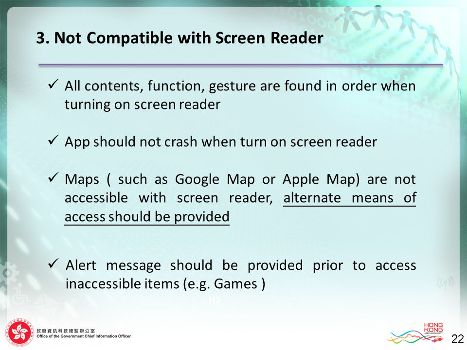 22 H2 3. Not Compatible with Screen Reader 22 All contents, function, gesture are found in order when turning on screen reader App should not crash wh