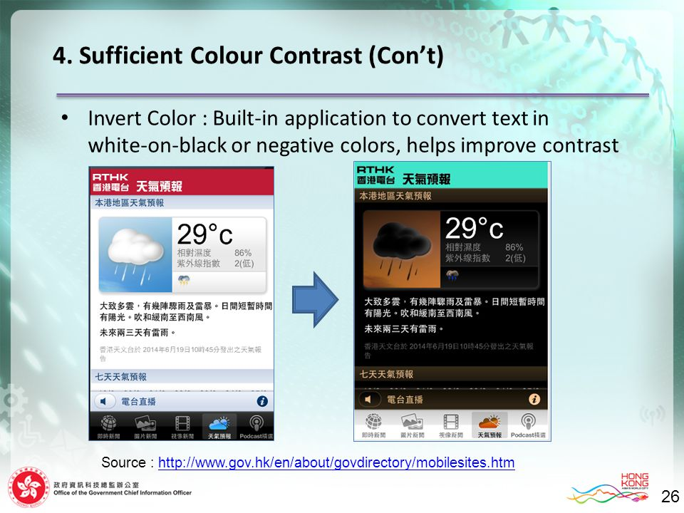 26 Invert Color : Built-in application to convert text in white-on-black or negative colors, helps improve contrast 4. Sufficient Colour Contrast (Con