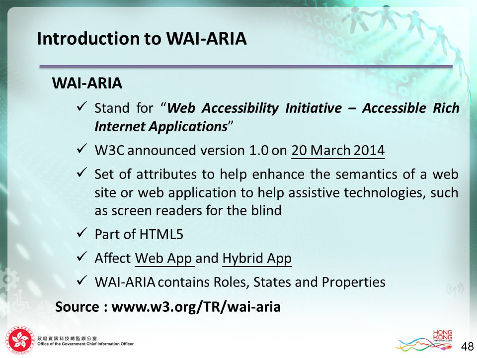 "48 Introduction to WAI-ARIA WAI-ARIA Stand for ""Web Accessibility Initiative – Accessible Rich Internet Applications"" W3C announced version 1.0 on 20"