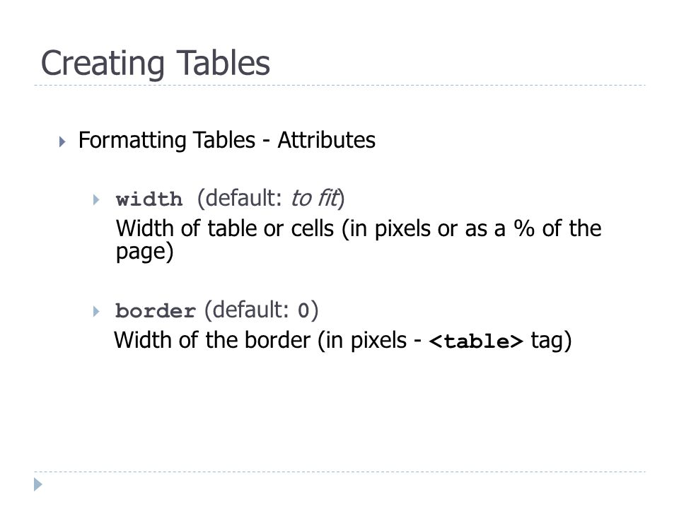  Formatting Tables - Attributes  width (default: to fit) Width of table or cells (in pixels or as a % of the page)  border (default: 0 ) Width of the border (in pixels - tag)