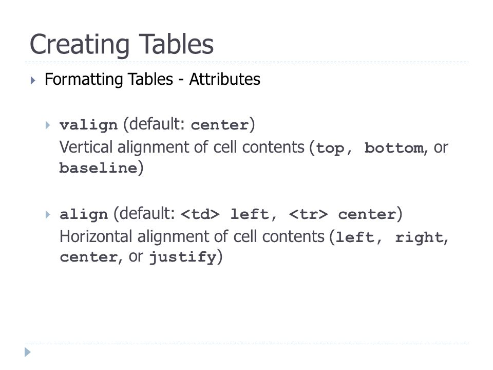 Creating Tables  Formatting Tables - Attributes  valign (default: center ) Vertical alignment of cell contents ( top, bottom, or baseline )  align (default: left, center ) Horizontal alignment of cell contents ( left, right, center, or justify )