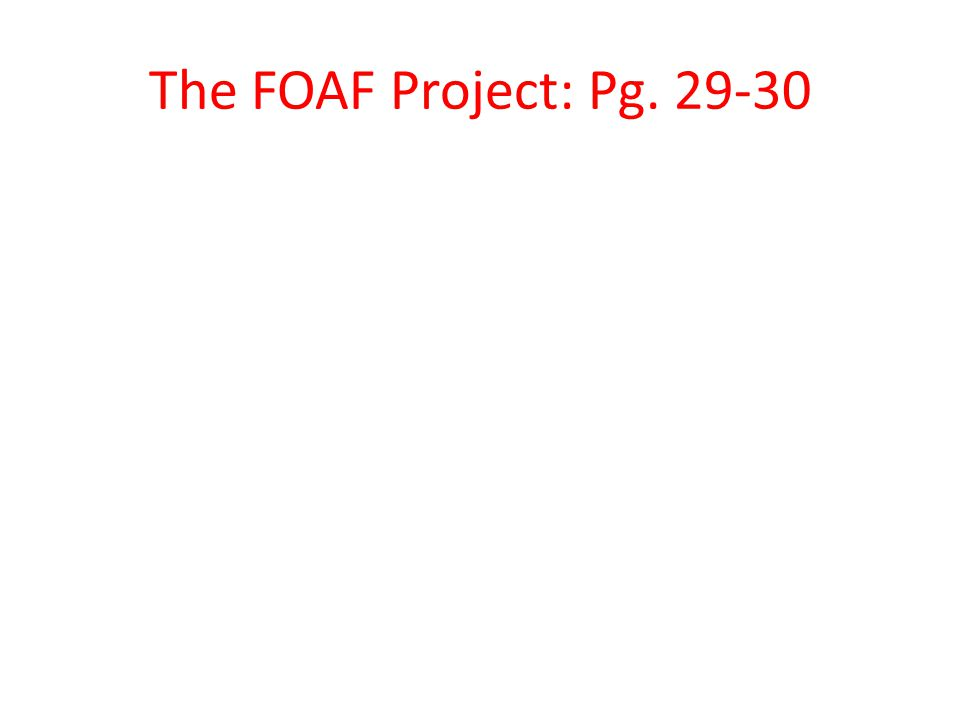 The FOAF Project: Pg. 29-30