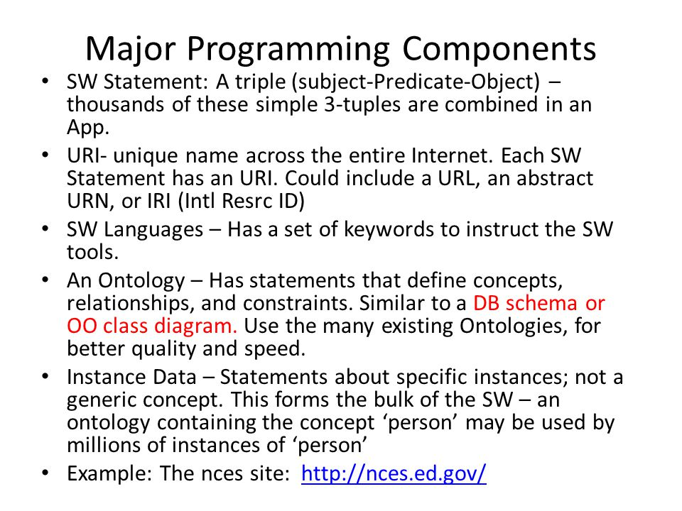 Major Programming Components SW Statement: A triple (subject-Predicate-Object) – thousands of these simple 3-tuples are combined in an App. URI- uniqu