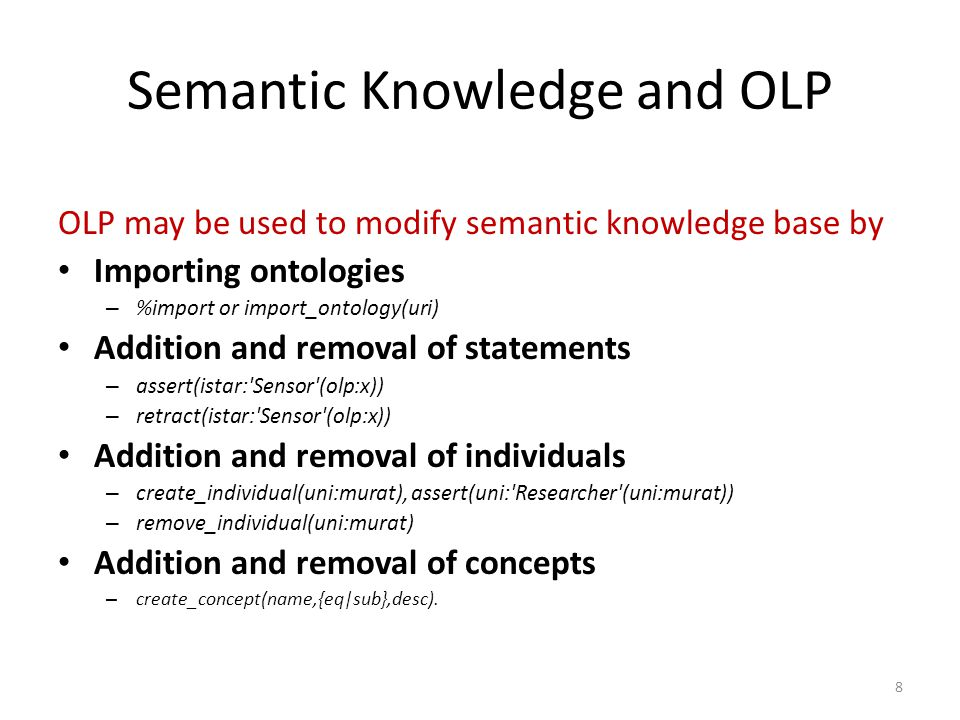 Supported DL Reasoning Services Ontology consistency checking Concept subsumption/equivalence checking Instance checking Concept satisfiability checking 9
