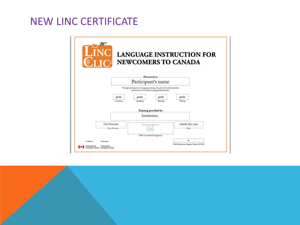 NEW LINC CERTIFICATE