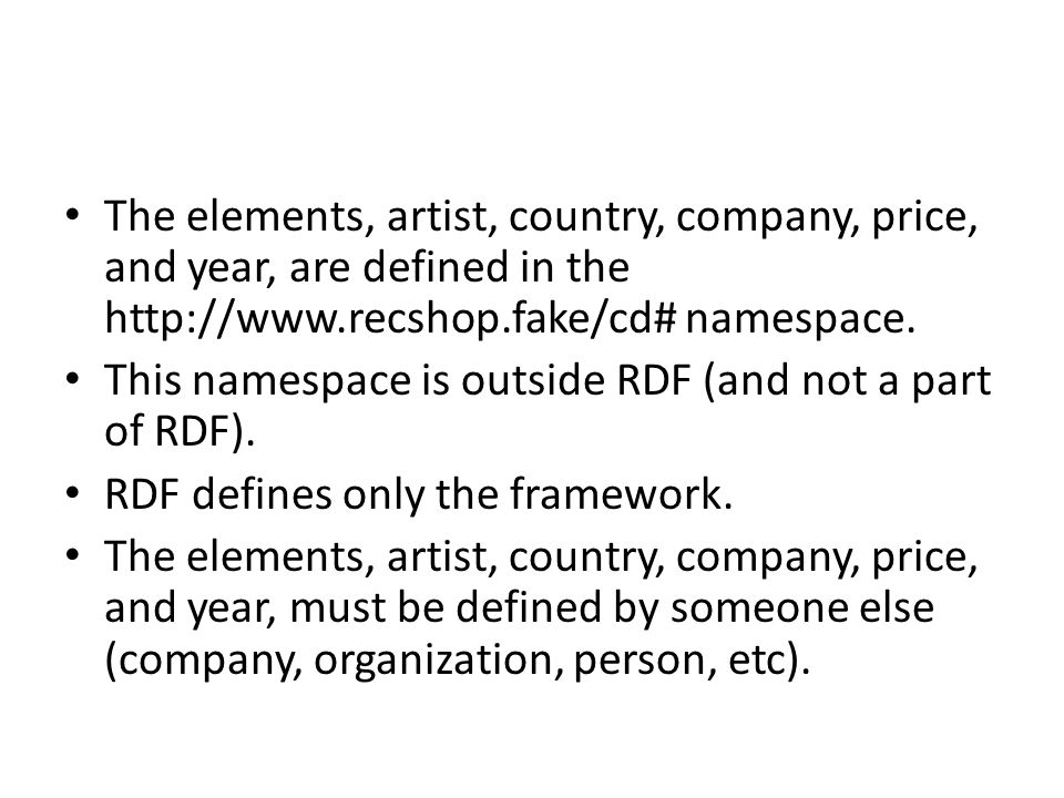 The elements, artist, country, company, price, and year, are defined in the http://www.recshop.fake/cd# namespace. This namespace is outside RDF (and
